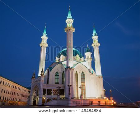KAZAN, RUSSIA - MAY 02, 2016: Kul-Sharif Mosque in the Kazan Kremlin, may night. Religious landmark  of the city Kazan, Tatarstan