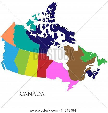 Color contour map of Canada. Vector illustration