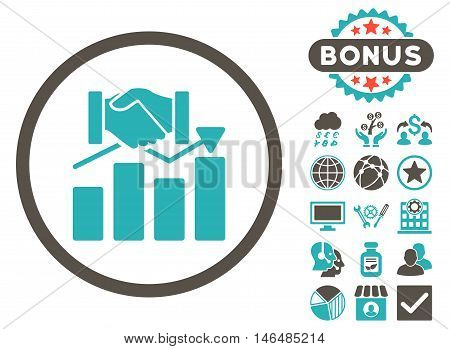 Acquisition Graph icon with bonus. Vector illustration style is flat iconic bicolor symbols, grey and cyan colors, white background.