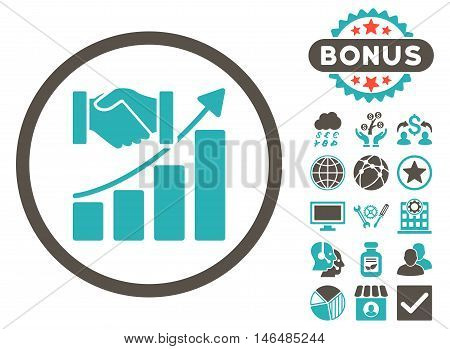 Acquisition Growth icon with bonus. Vector illustration style is flat iconic bicolor symbols, grey and cyan colors, white background.