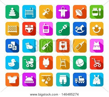 Products for children, colored flat icons. Clothes, toys and personal items for newborns and young children. White icons on a colored background with a shadow.