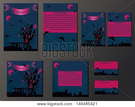 Blue and pink brochures and business cards with halloween castle. Nice vector illustration