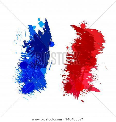 Colored splashes in abstract shape, French flag