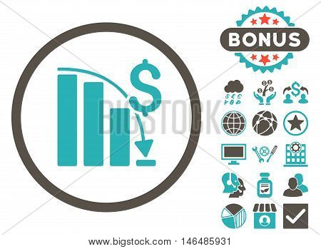 Epic Fail Chart icon with bonus. Vector illustration style is flat iconic bicolor symbols, grey and cyan colors, white background.
