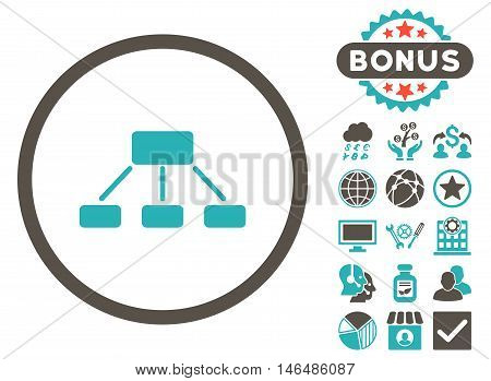 Hierarchy icon with bonus. Vector illustration style is flat iconic bicolor symbols, grey and cyan colors, white background.