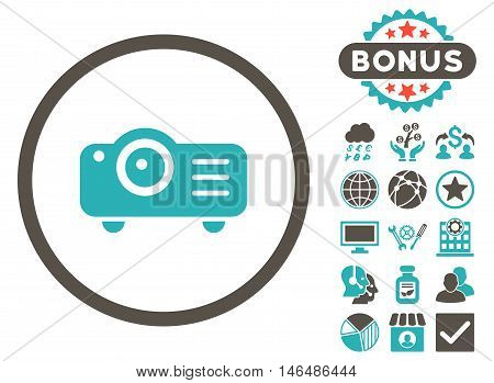 Projector icon with bonus. Vector illustration style is flat iconic bicolor symbols, grey and cyan colors, white background.