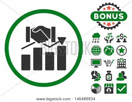 Acquisition Graph icon with bonus. Vector illustration style is flat iconic bicolor symbols, green and gray colors, white background.