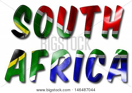 South Africa word 3D illustration with a flag texture on an isolated white background with a clipping path for with and without the shadow