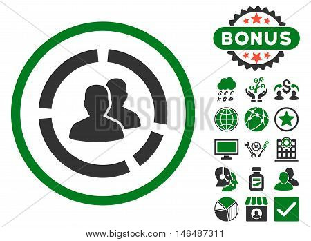 Demography Diagram icon with bonus. Vector illustration style is flat iconic bicolor symbols, green and gray colors, white background.