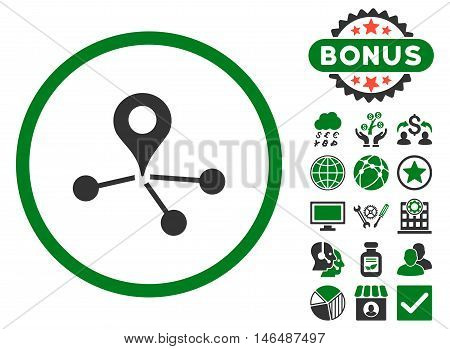 Geo Network icon with bonus. Vector illustration style is flat iconic bicolor symbols, green and gray colors, white background.