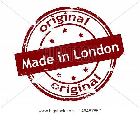 Rubber stamp with text made in London inside vector illustration
