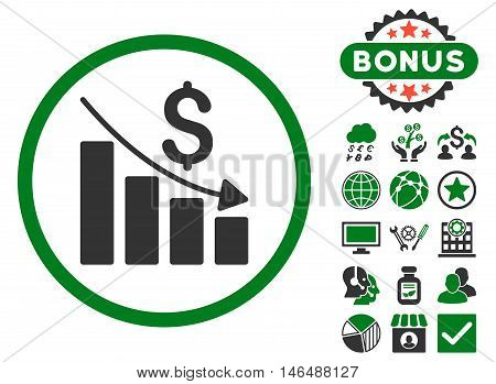 Recession Chart icon with bonus. Vector illustration style is flat iconic bicolor symbols, green and gray colors, white background.