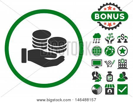 Salary Coins icon with bonus. Vector illustration style is flat iconic bicolor symbols, green and gray colors, white background.
