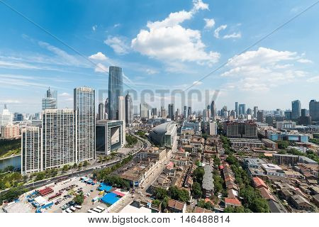 modern cityscape of tianjin in daytime China