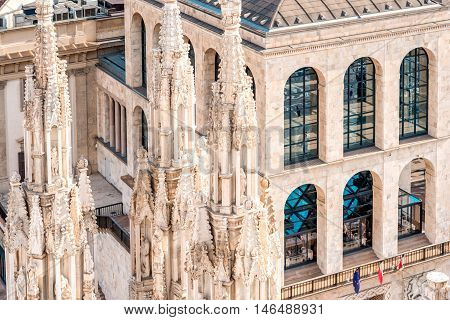Milan, Italy - June 06, 2016: Top view on the facade of Novecento museum on the central square in Milan in Italy. This building is a museum of twentieth-century art in Milan