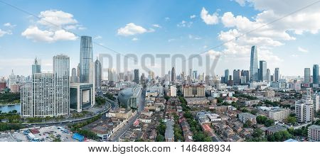 a panoramic view of tianjin cityscape China