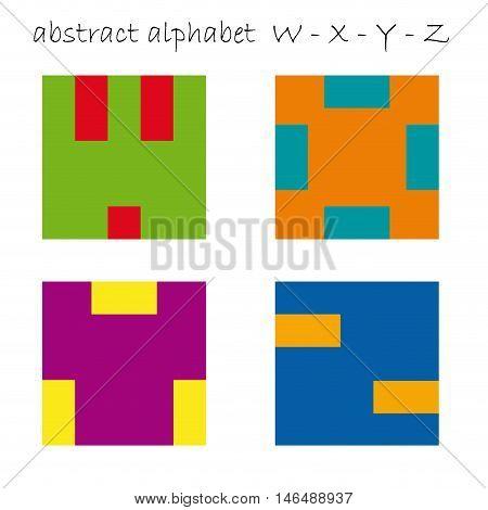 Vector color logo initial letter W X Y Z