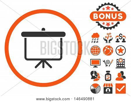 Projection Board icon with bonus. Vector illustration style is flat iconic bicolor symbols, orange and gray colors, white background.