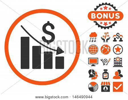 Recession Chart icon with bonus. Vector illustration style is flat iconic bicolor symbols, orange and gray colors, white background.