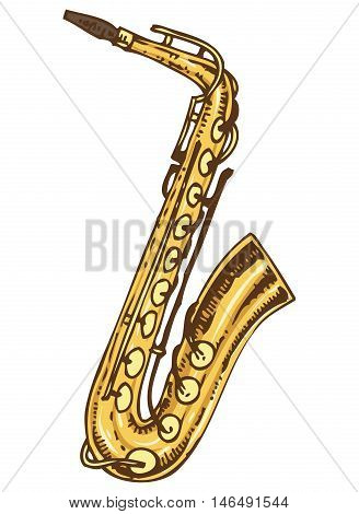 Musical Instrument. Golden Saxophone Isolated on a White