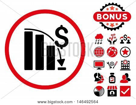Epic Fail Chart icon with bonus. Vector illustration style is flat iconic bicolor symbols, intensive red and black colors, white background.