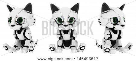 Robotic kitten sitting poses 3d illustration horizontal isolated