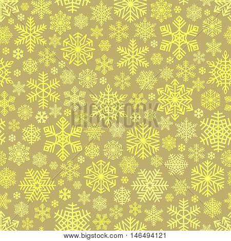 Snowflakes Pattern Seamless on Beige Background. Golden color falling snow. Intricate decorative design element for Christmas card, gift paper, Happy New Year greeting. Unusual vector ornament.