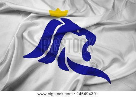 Waving Flag of Luxembourg City Luxembourg, with beautiful satin background