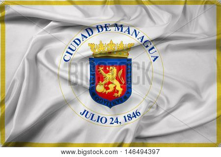 Waving Flag of Managua Nicaragua, with beautiful satin background