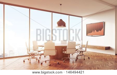 Sunlit Conference Room Table