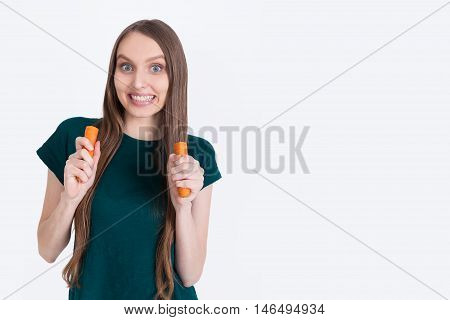 Crazy Girl With Carrot