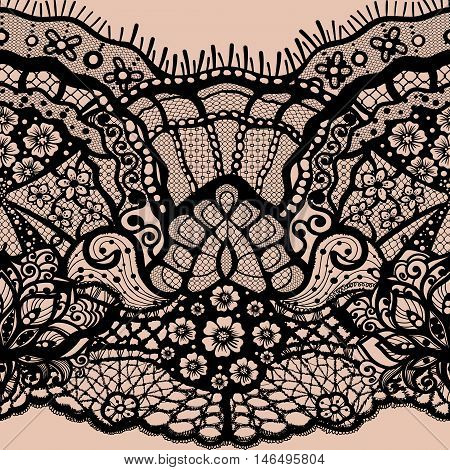 Vector Abstract seamless pattern with lace leaves and flowers pattern. Infinitely floral black ornamental wallpaper, lingerie and jewelry. Lace flower and ornament. Isolate seamless lace.