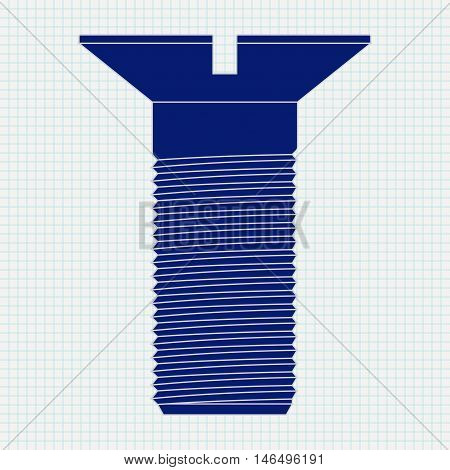 Metal bolt. Blue screw icon. Vector illustration isolated on notebook sheet