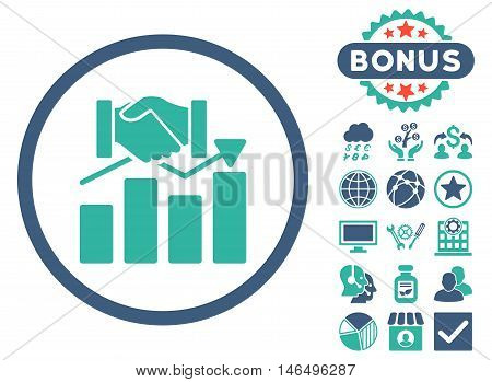 Acquisition Graph icon with bonus. Vector illustration style is flat iconic bicolor symbols, cobalt and cyan colors, white background.