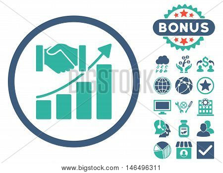 Acquisition Growth icon with bonus. Vector illustration style is flat iconic bicolor symbols, cobalt and cyan colors, white background.