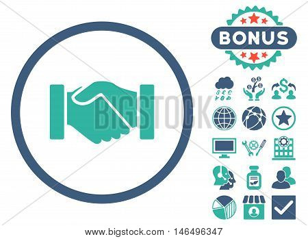 Acquisition Handshake icon with bonus. Vector illustration style is flat iconic bicolor symbols, cobalt and cyan colors, white background.