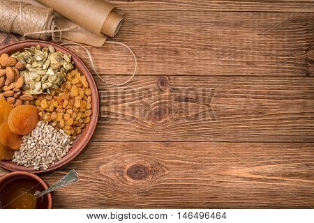 The concept of cooking energy bars . Background.