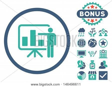 Bar Chart Presentation icon with bonus. Vector illustration style is flat iconic bicolor symbols, cobalt and cyan colors, white background.