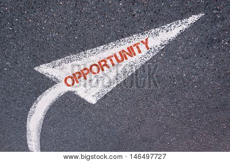 Directional White Painted Arrow With Word Opportunity Over Road Surface