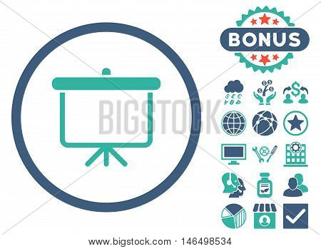 Projection Board icon with bonus. Vector illustration style is flat iconic bicolor symbols, cobalt and cyan colors, white background.