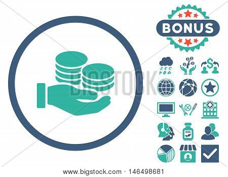 Salary Coins icon with bonus. Vector illustration style is flat iconic bicolor symbols, cobalt and cyan colors, white background.