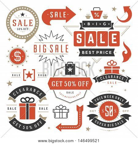 Sale Tags and Labels Design Vector Vintage Set for Banners, Promotional Brochures, Discount Poster, Shopping Flyer, Clearance Advertising. Collection Sale objects and icons.