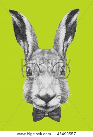 Original drawing of Rabbit with glasses and bow tie. Isolated  on  colored background.