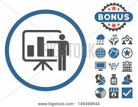 Bar Chart Presentation icon with bonus. Vector illustration style is flat iconic bicolor symbols, cobalt and gray colors, white background.