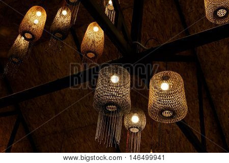 chandelier made from wood and hand made