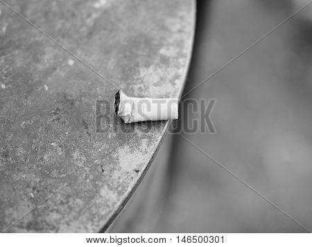 Cigarette Butt Waste In Black And White