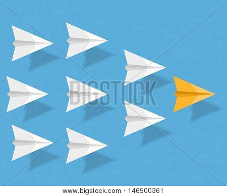 Yellow paper airplane as a leader among white airplanes, leadership, teamwork, motivation, stand out of the crowd concept, vector eps10 illustration