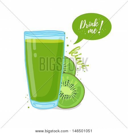Design Template banner, poster, icons kiwi smoothies. Illustration of kiwi juice Drink me. Freshly squeezed tropical kiwi juice for healthy life. A glass of juice in doodle cute style. Vector