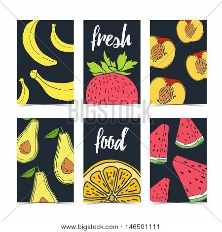 Template Design leaflet or booklet with fruits and berries. A set of cards with natural food. Flyers with a pattern of fruits and berries. Vegetarian cards. Space for your text. Vector