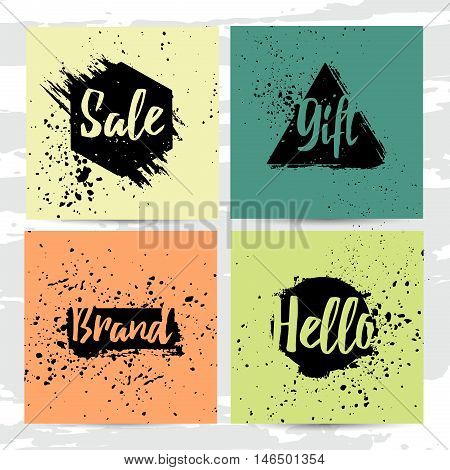 Set of modern cards with decor of abstract geometric spots. Background of the ink spots. Offer sale on grunge background. Universal Square cards with template design for banner, flyers, brochures.